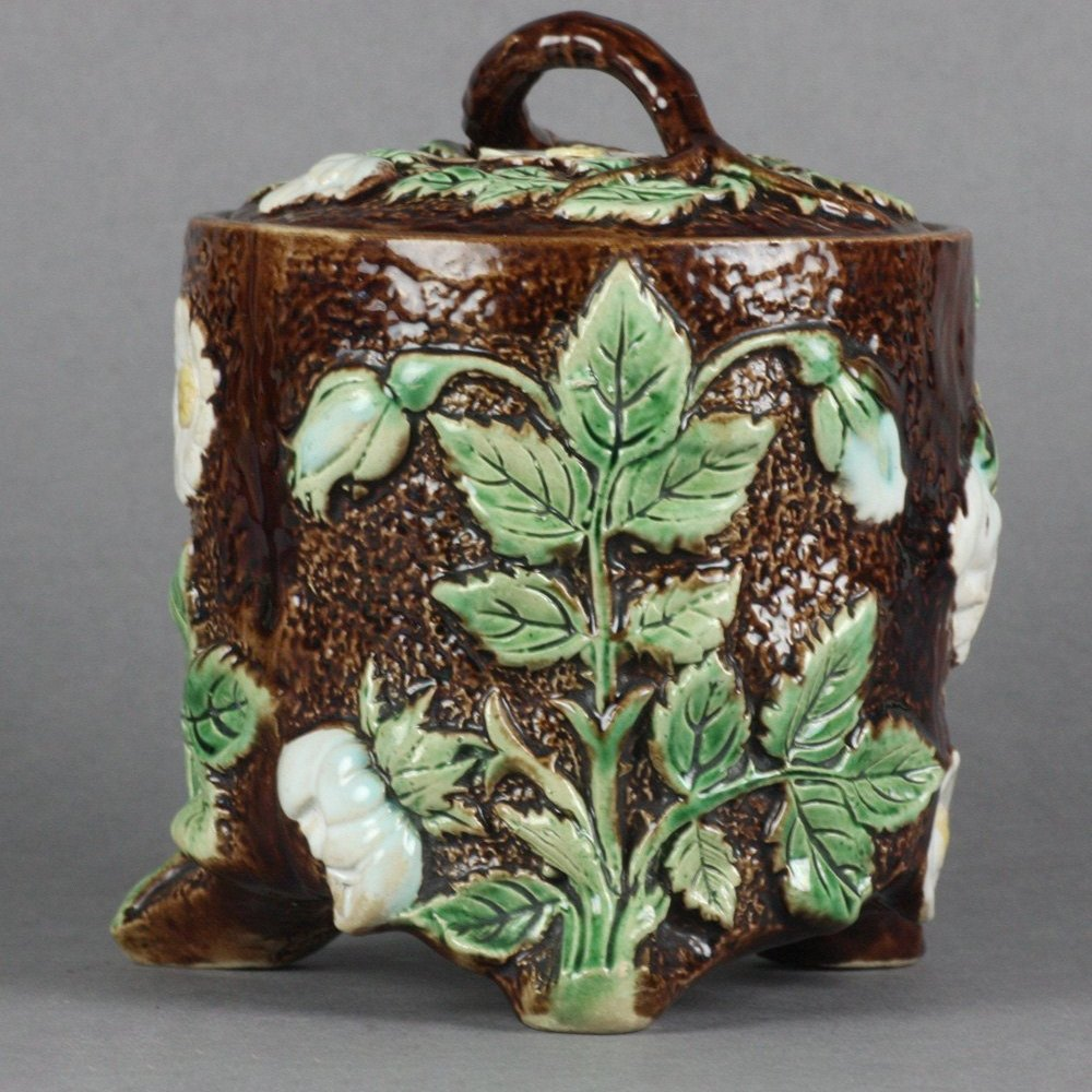 MAJOLICA LIDDED TOBACCO JAR 19th Century