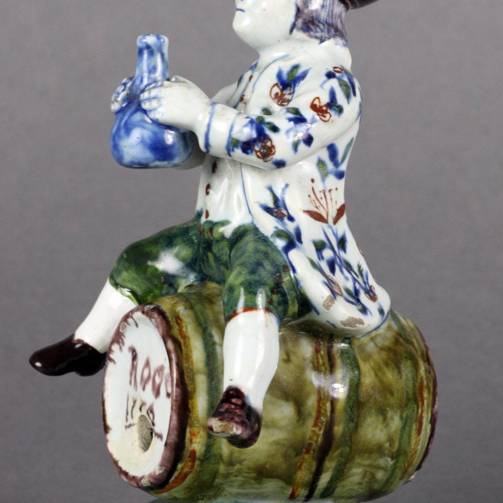 DUTCH DELFT FIGURAL SPIRIT CONTAINER Dated 1776