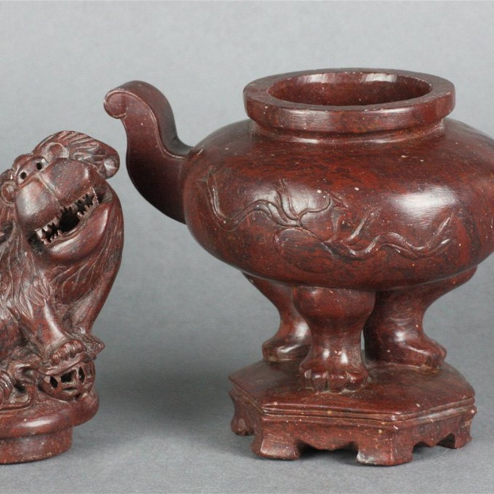 SOAPSTONE LIDDED CENSER 19th Century possibly earlier