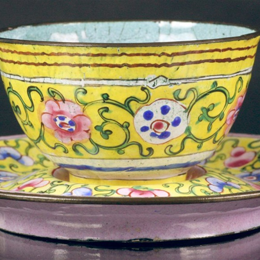 Antique Chinese Canton Enamel Teabowl & Stand 18th C.