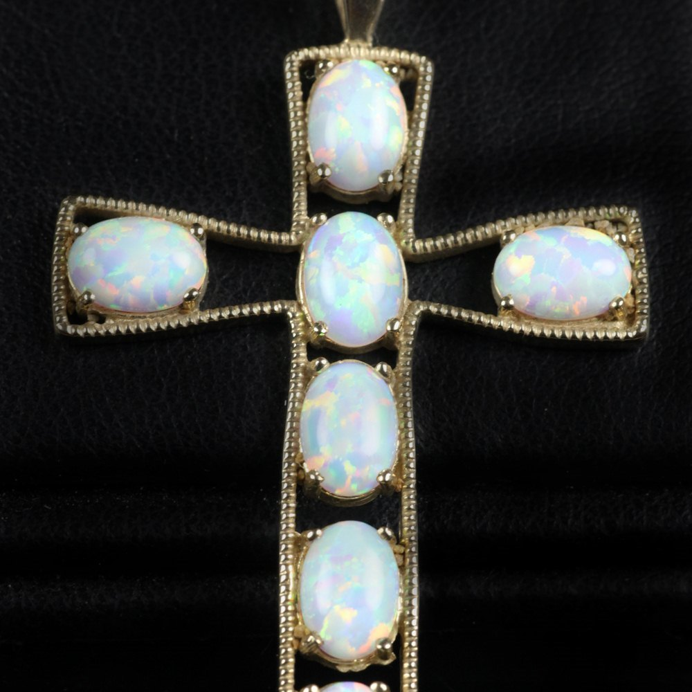 9k Yellow Gold Opal Cross Pendant Unknown