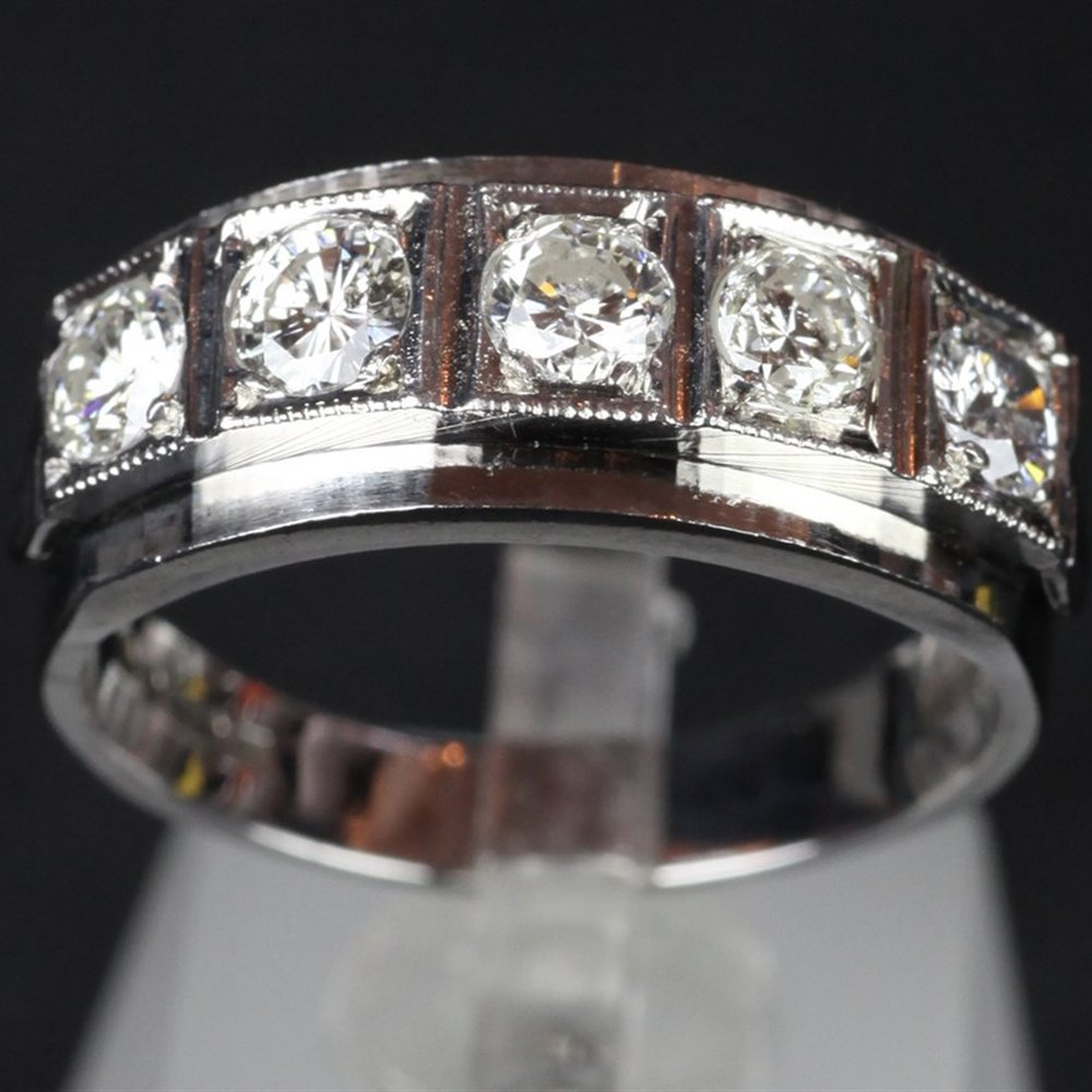 18k White Gold H.M London 1977 18ct White Gold Hand Made Five Stone diamond Ring