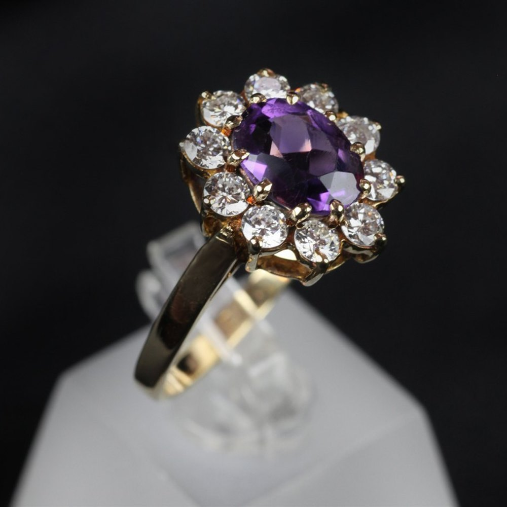 18k Yellow Gold 18ct Yellow Gold Amethyst & Diamond Ring