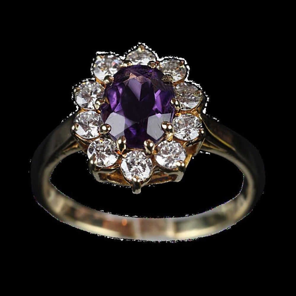 18k Yellow Gold  18ct Yellow Gold Amethyst & Diamond Ring