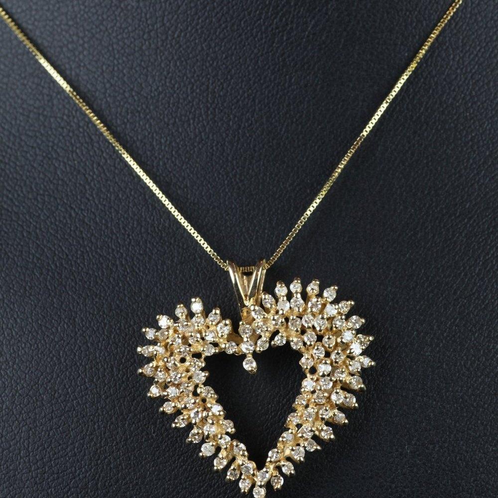 14ct Gold & Diamond Heart Shaped Pendant