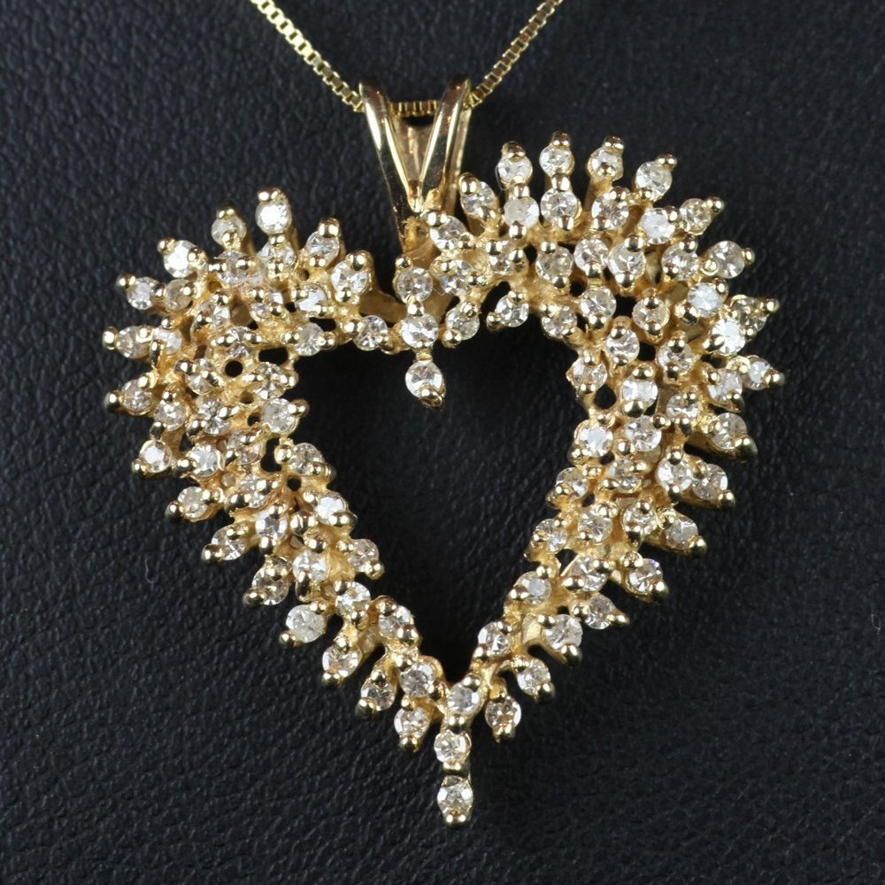 14ct Gold 14ct Gold & Diamond Heart Shaped Pendant