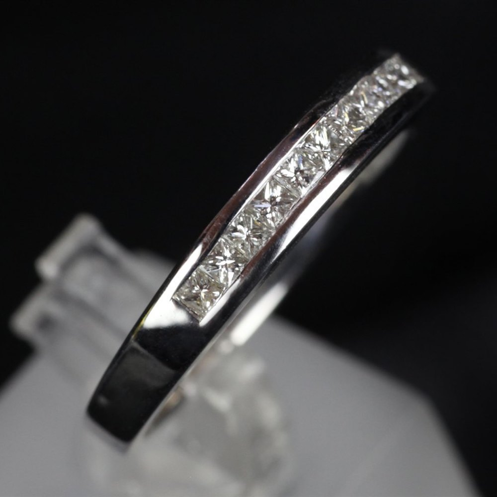 American 14ct White Gold Princess Cut Diamond Wedding Set
