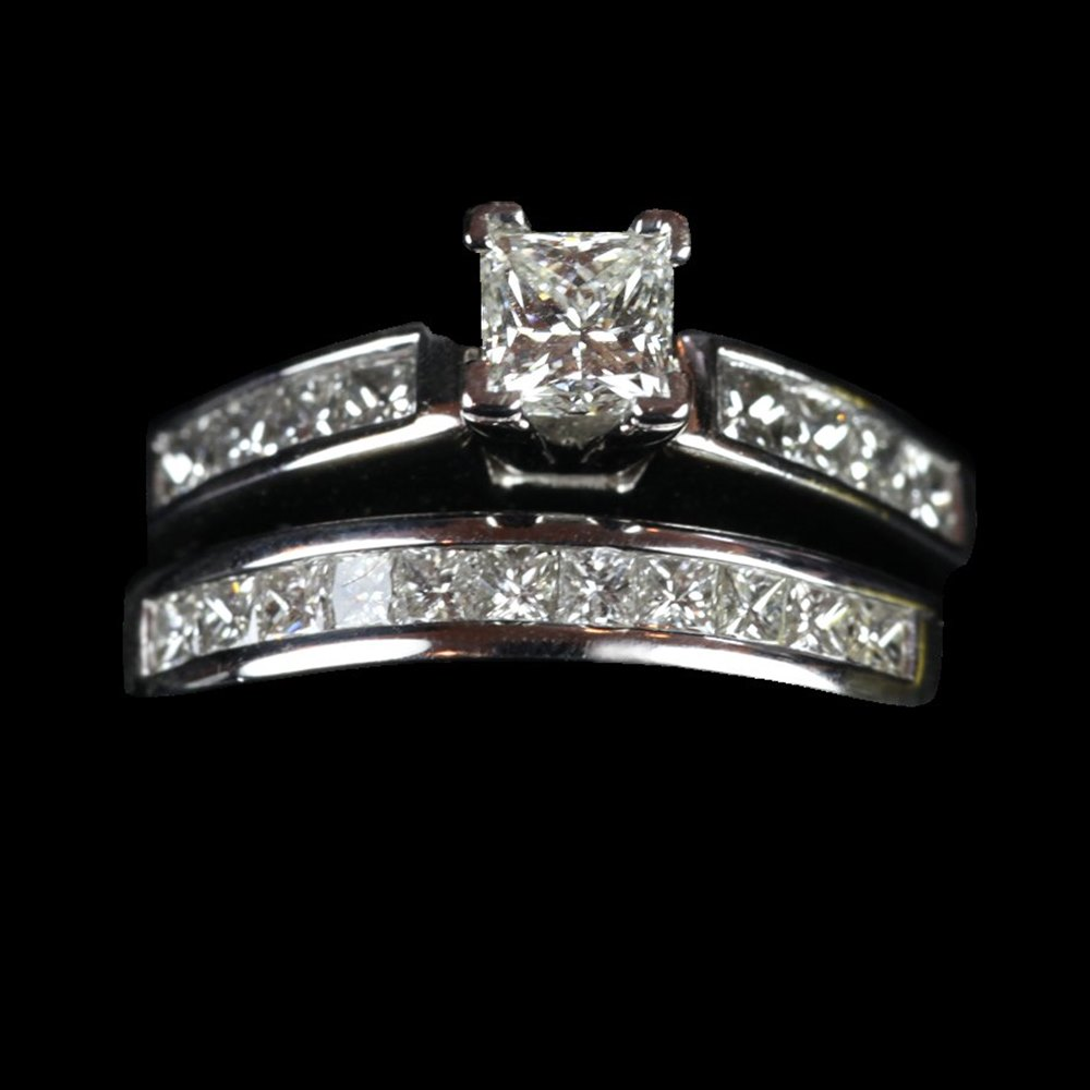 14ct White Gold American 14ct White Gold Princess Cut Diamond Wedding Set