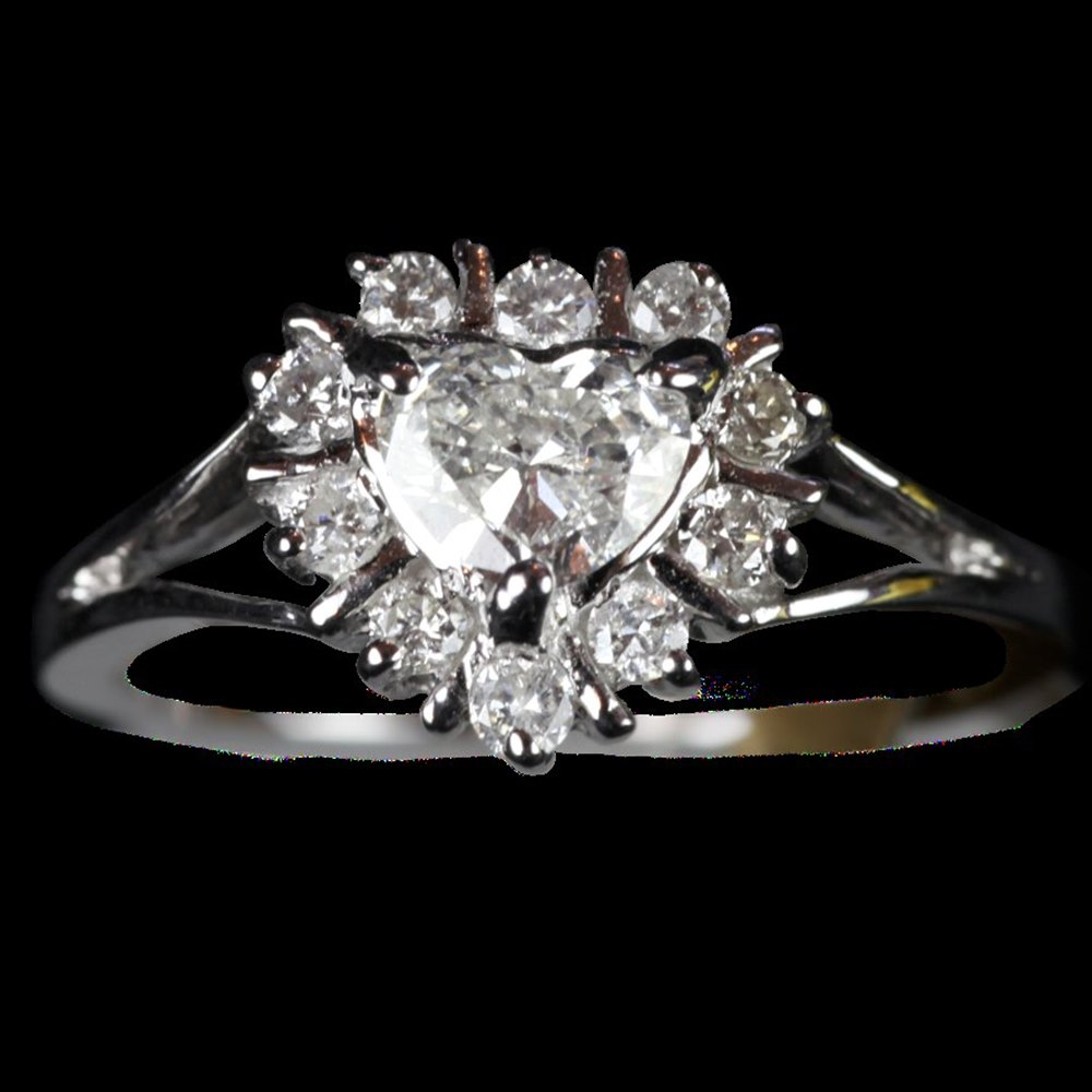 14ct White Gold 14ct White Gold Diamond Heart Cluster Ring