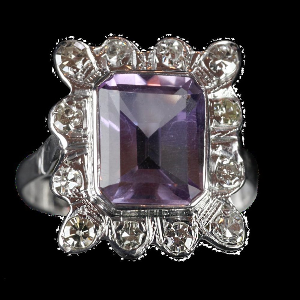 18ct White Gold  9ct White Gold Amethyst & Diamond Ring