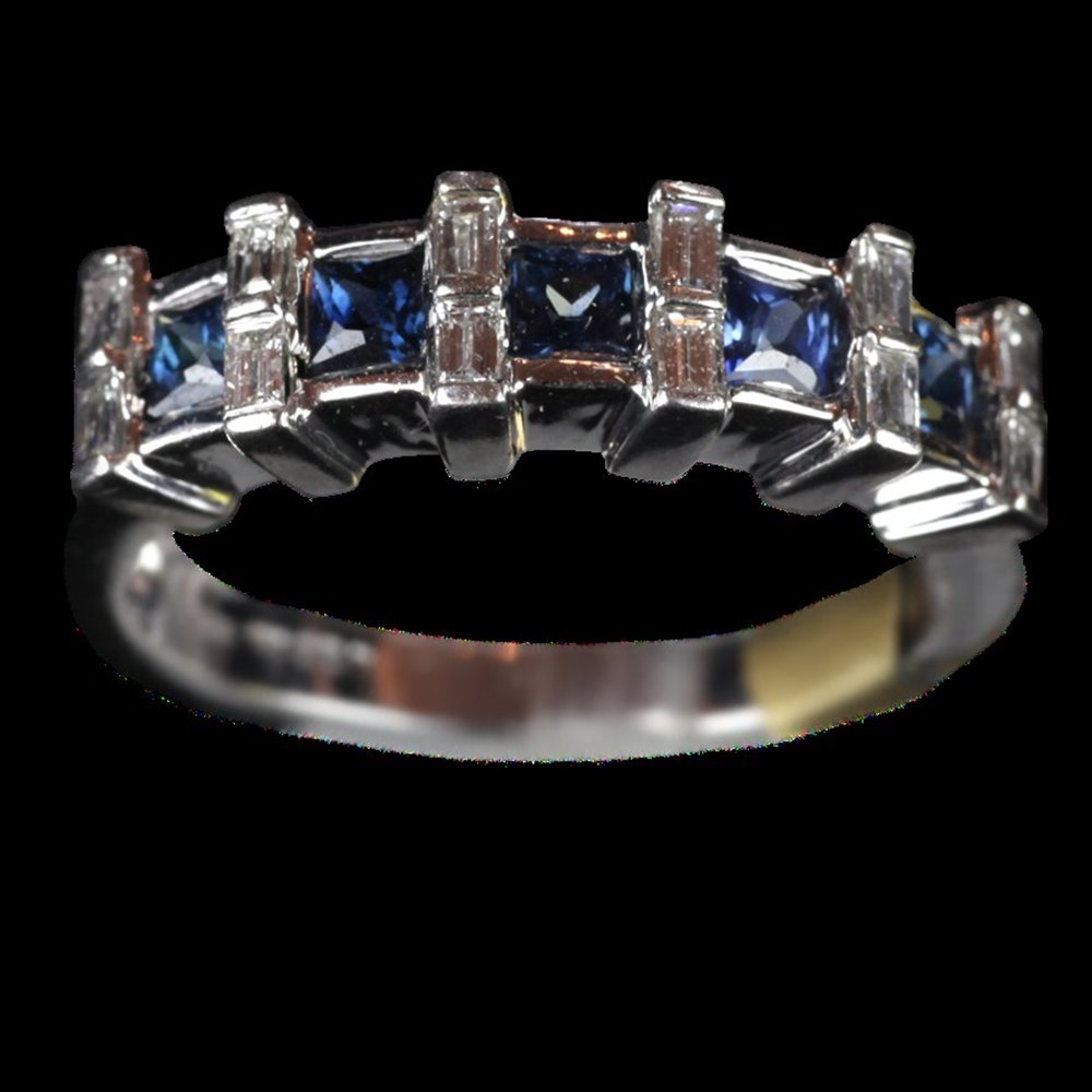 18ct White Gold 18ct White Gold Sapphire & Diamond Ring