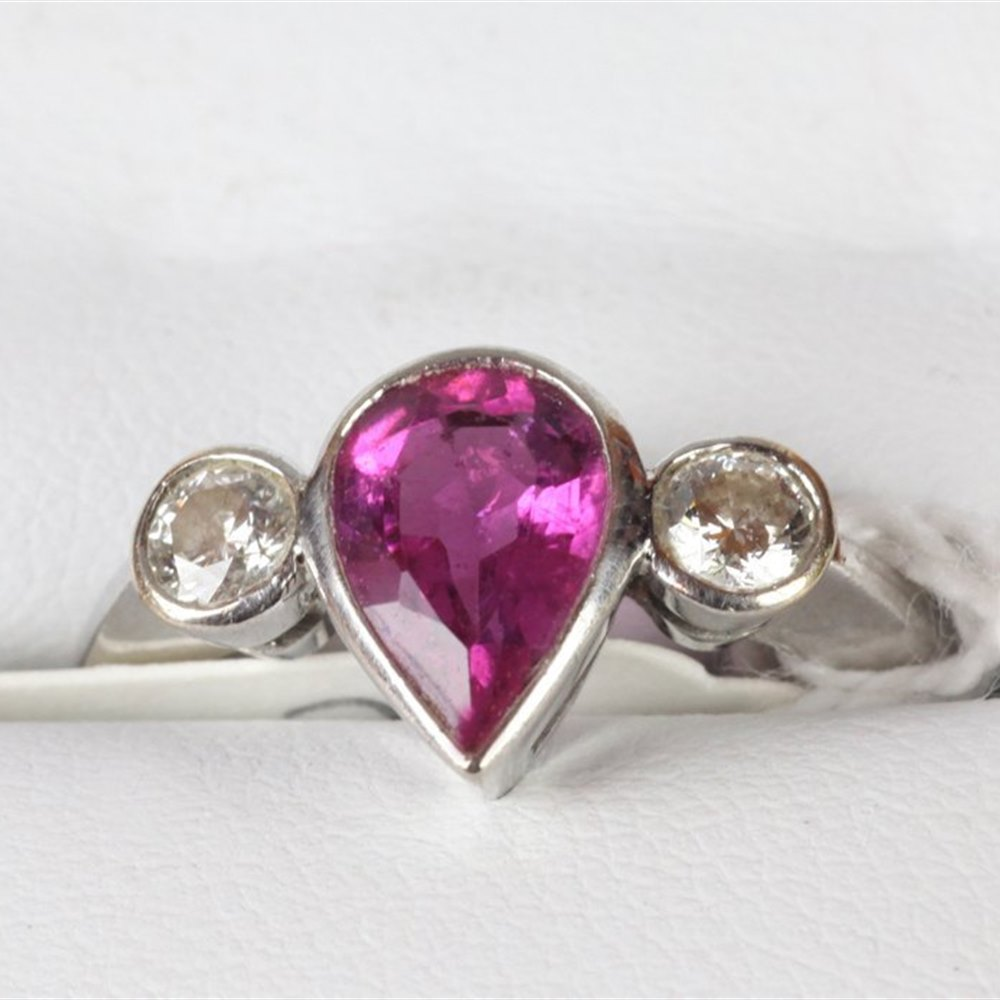 18ct White Gold  Pink Pear Shaped Sapphire & Diamond Ring