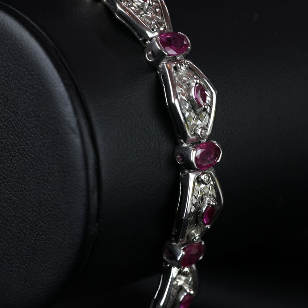 18ct White Gold  18ct White Gold Hot Pink Sapphires & Diamonds Bracelet