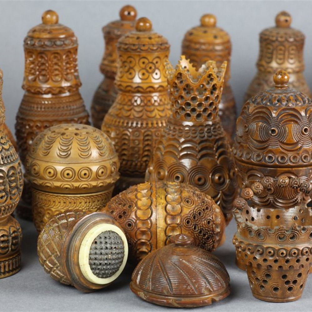 Rare Private Collection Of 31 Carved Coquilla Nut Containers