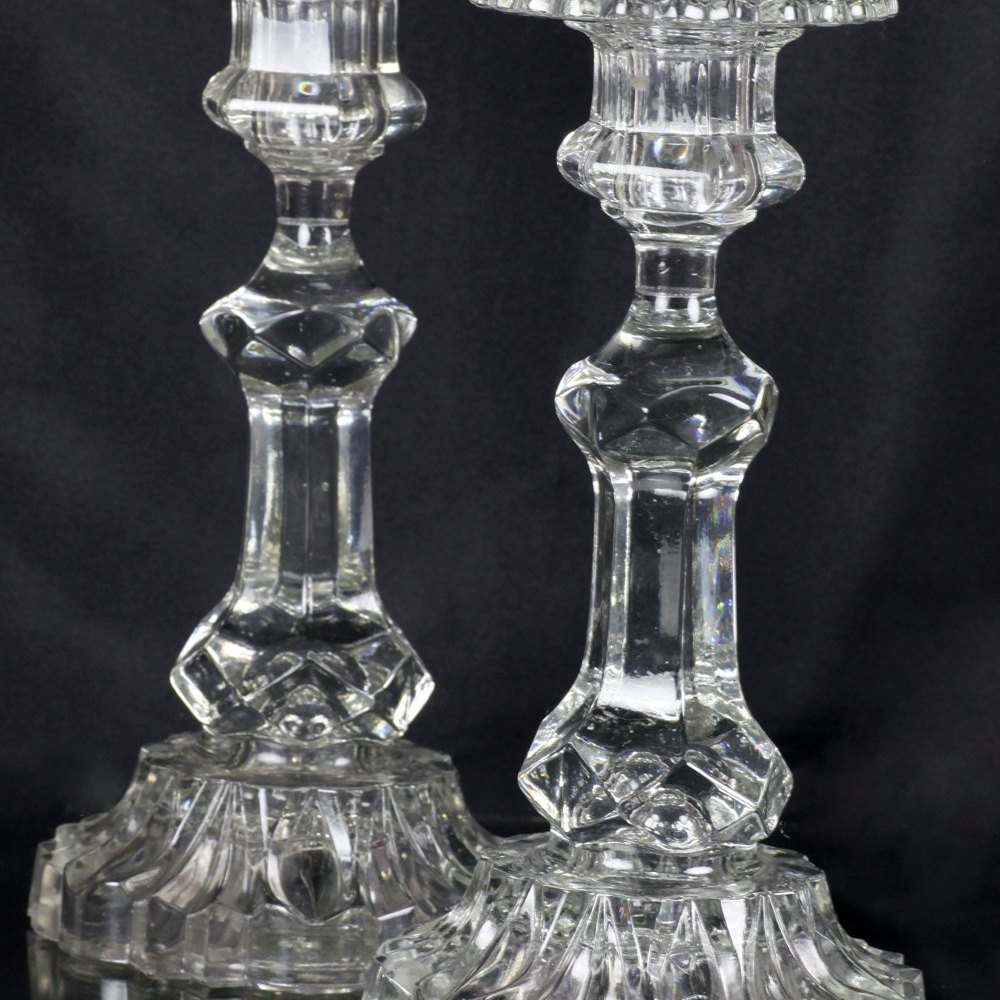 VICTORIAN GLASS CANDLESTICKS 19th Century