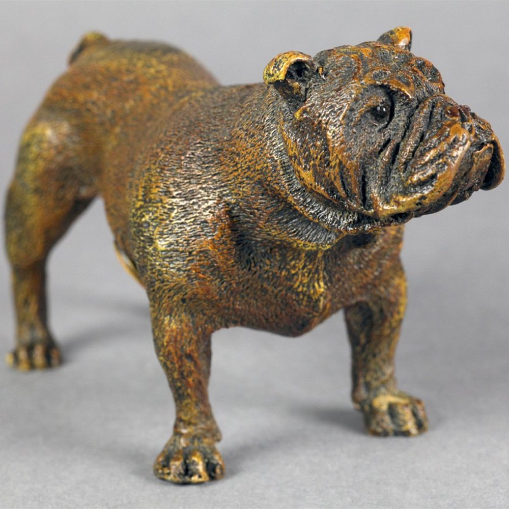 BRONZE BULLDOG MARKED BERGMAN Early to mid 20th Century