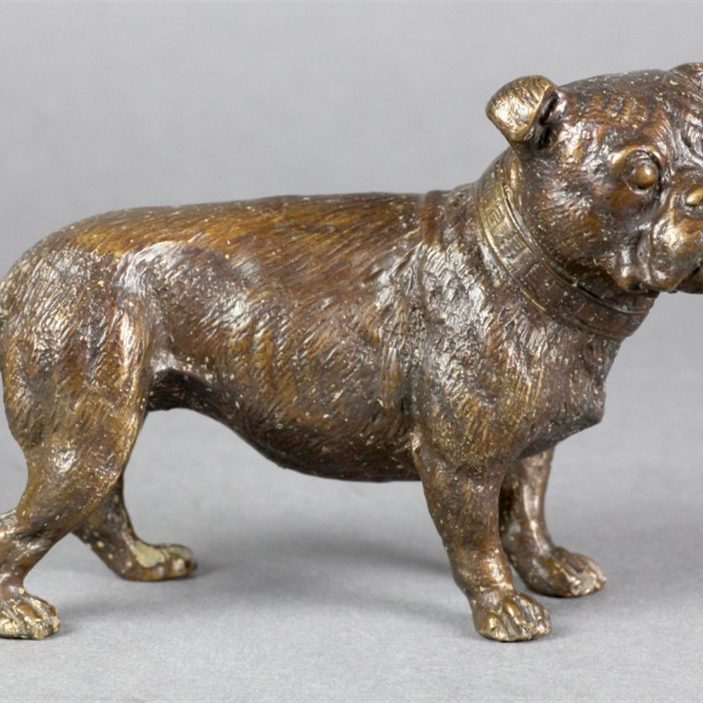 BRONZE DOG MARKED GESCHUTZT Early to mid 20th Century