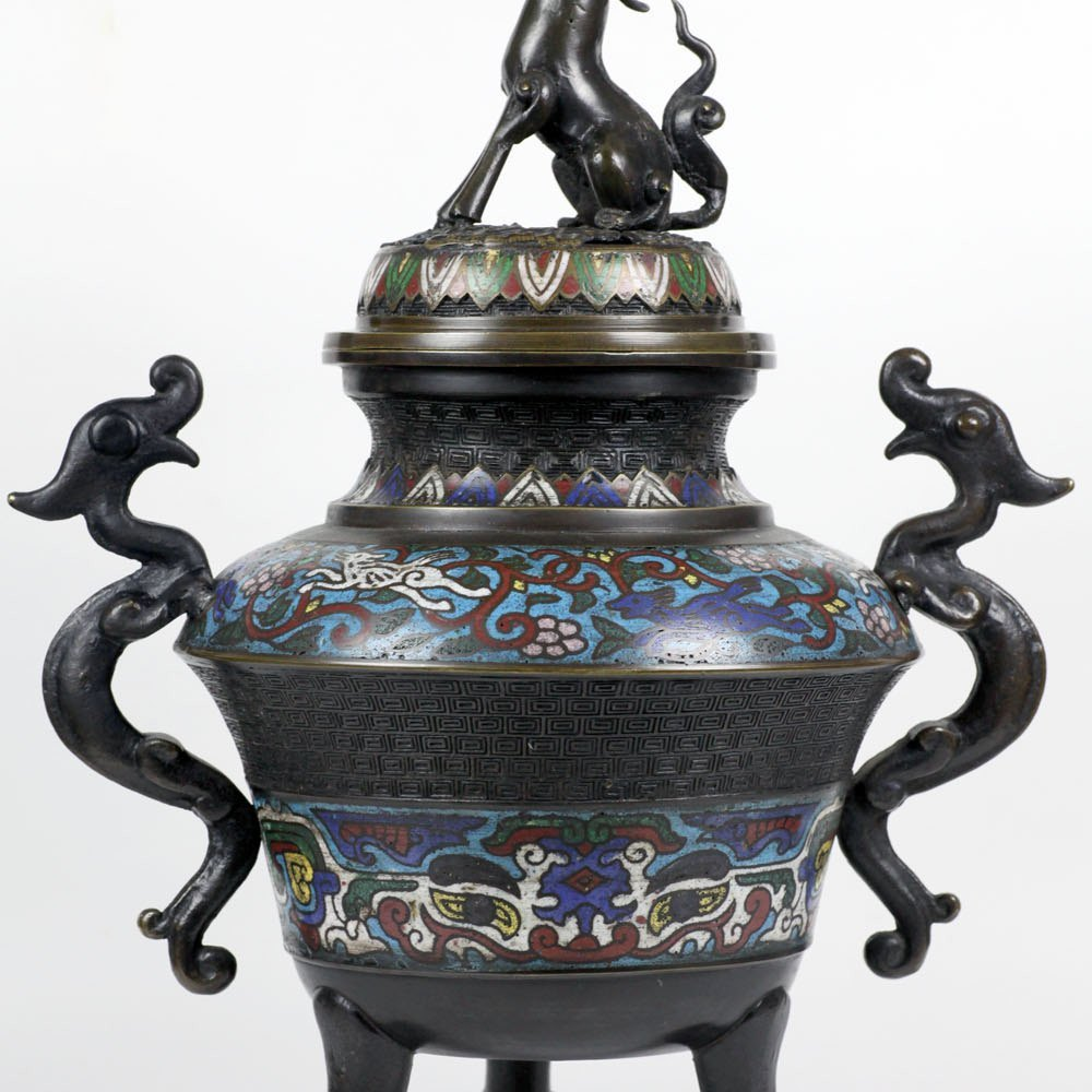 CHINESE BRONZE CHAMPLEVE CENSER 19th Century
