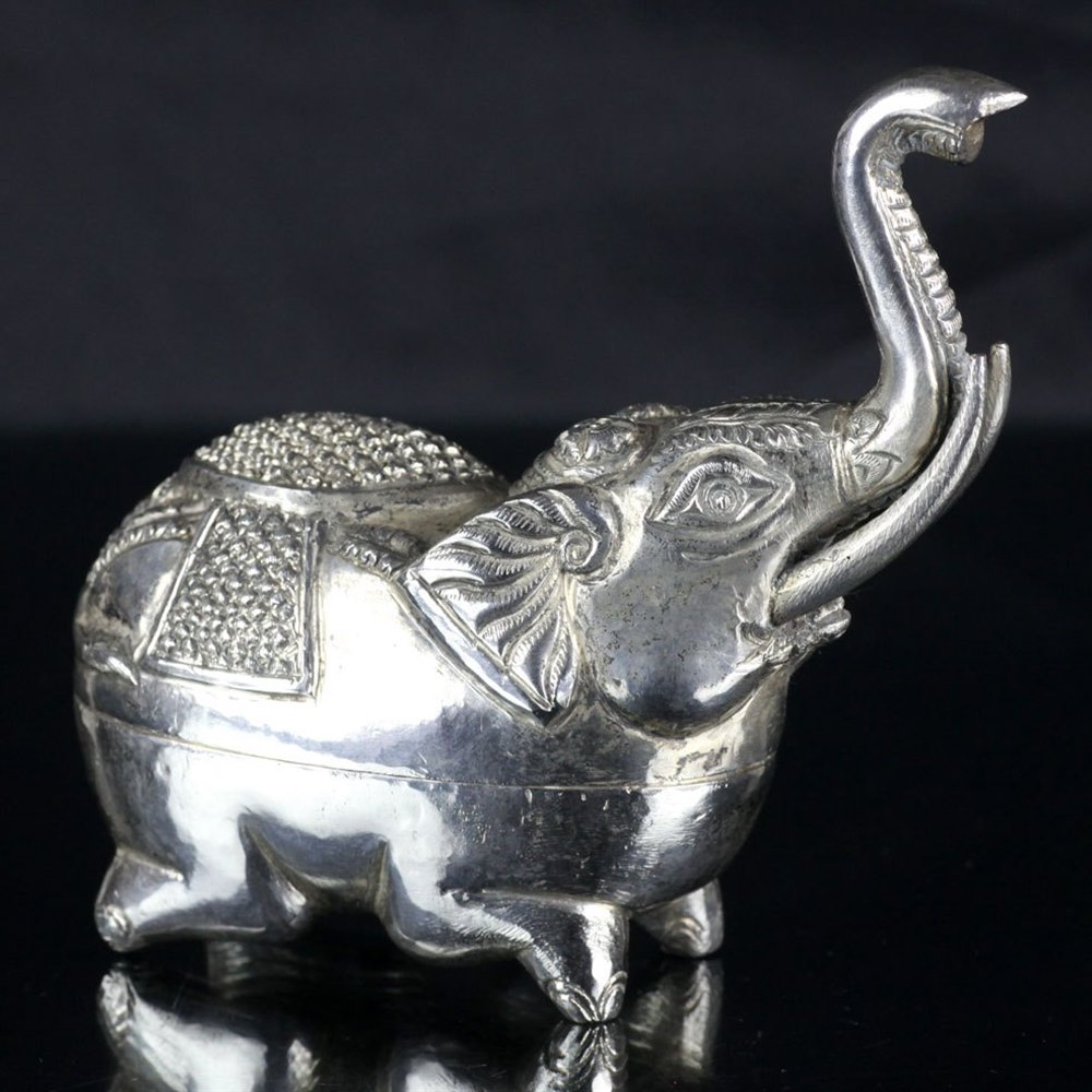 ASIAN ELEPHANT SPICE CONTAINER Early 20th Century