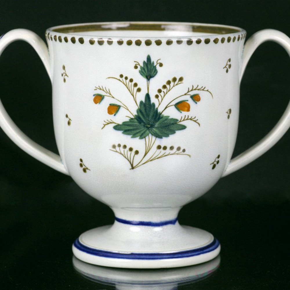 Rare Antique Pearlware Loving Cup Inscribed Henry York 1797