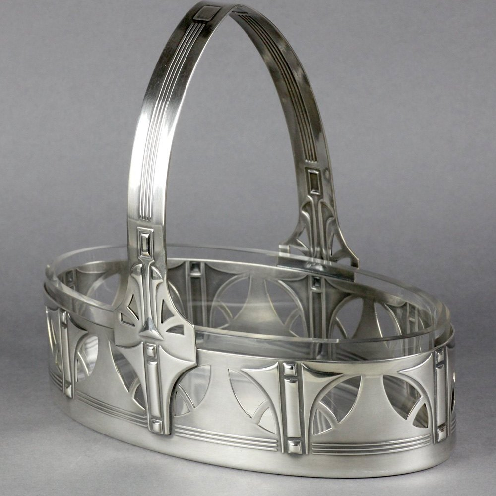 Wmf Secessionist Silver Plated Basket With Original Liner C.1906