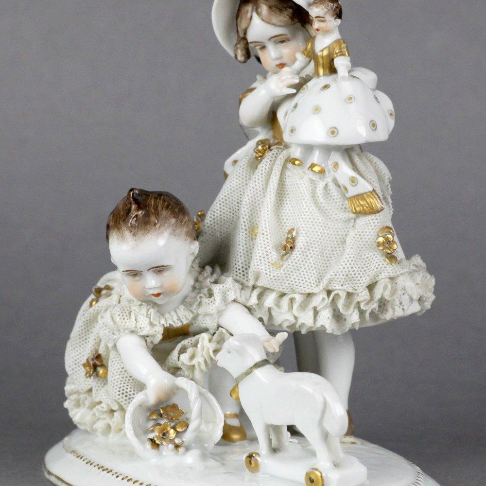 MEISSEN STYLE CHILDREN GROUP Believed 19th Century