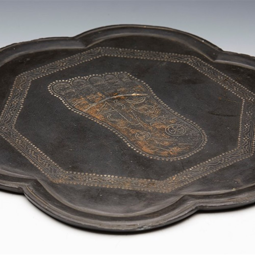 ANTIQUE CHINESE / ORIENTAL CARVED SLATE TRAY WITH FOOT IMPRINT 19TH C. Believed 19th century or earlier