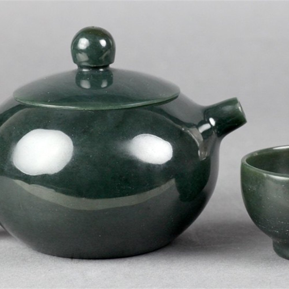 CHINESE SPINACH JADE TEASET 19/20th Century