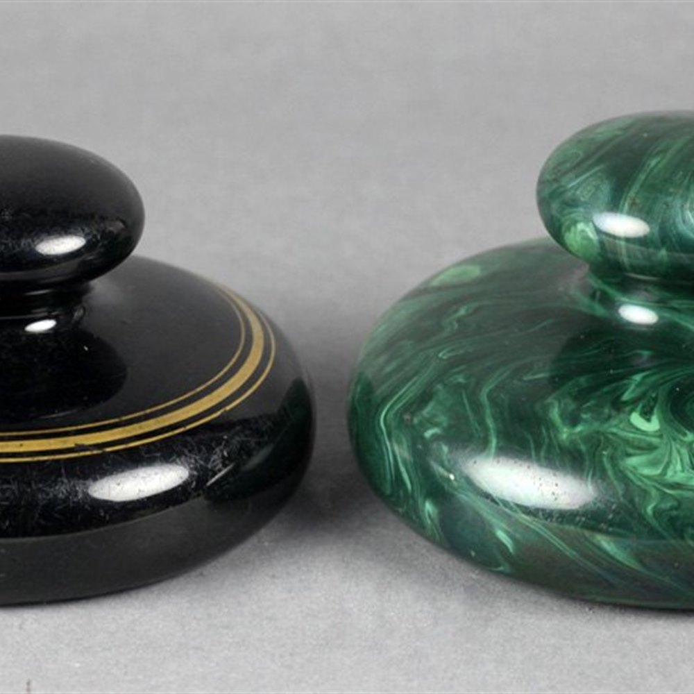 Rare Antique Pottery Malachite Enameled Paperweight Early 19th C.
