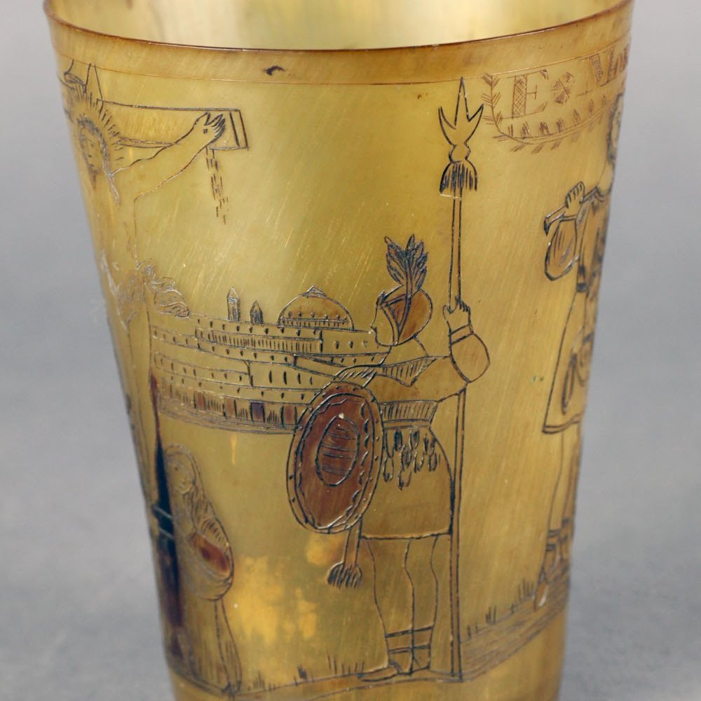 Very Rare Antique Georgian Horn Beaker Carved With Biblical Scenes C.1800
