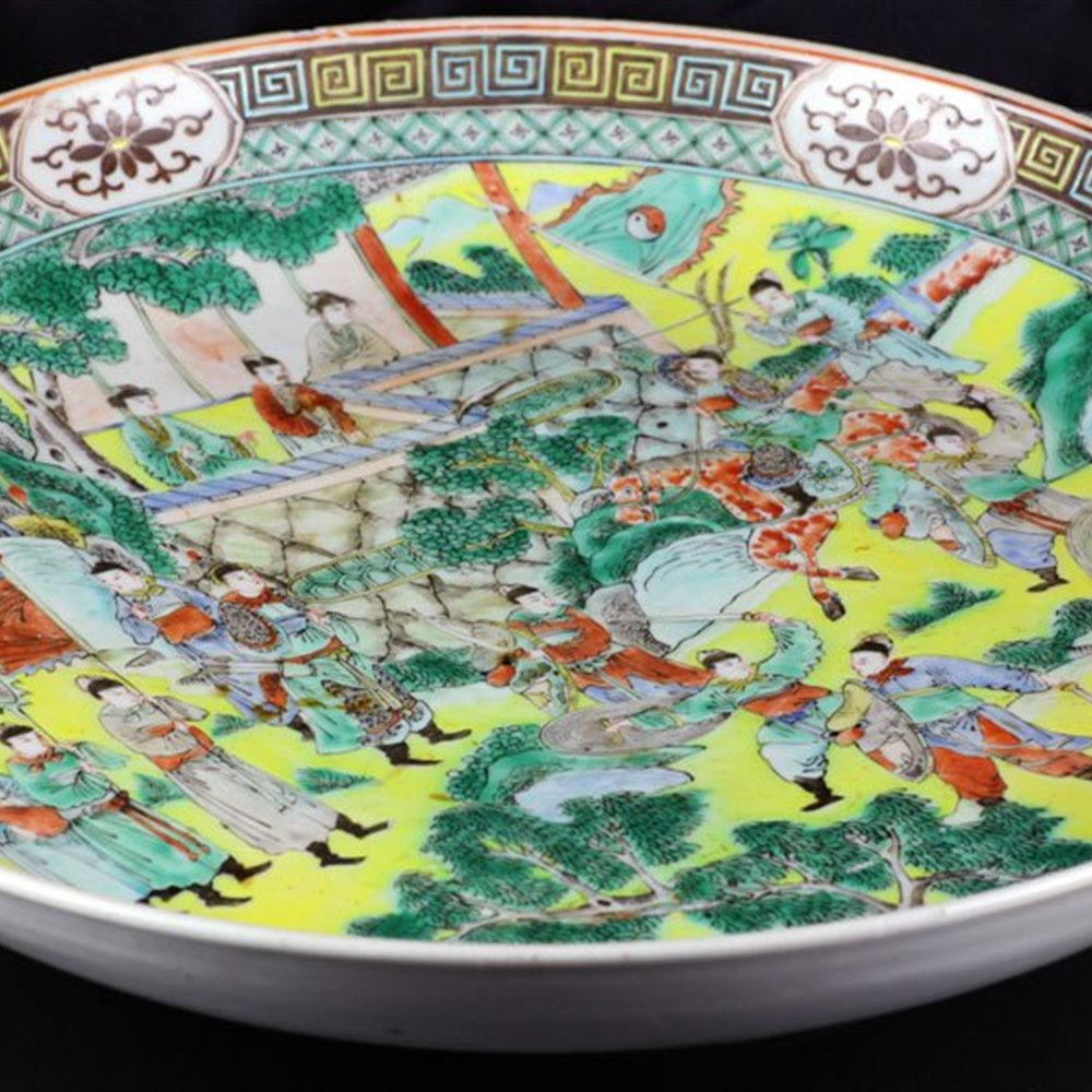 Stunning Antique Chinese Famille Verte Battle Scene Charger 18/19th C.