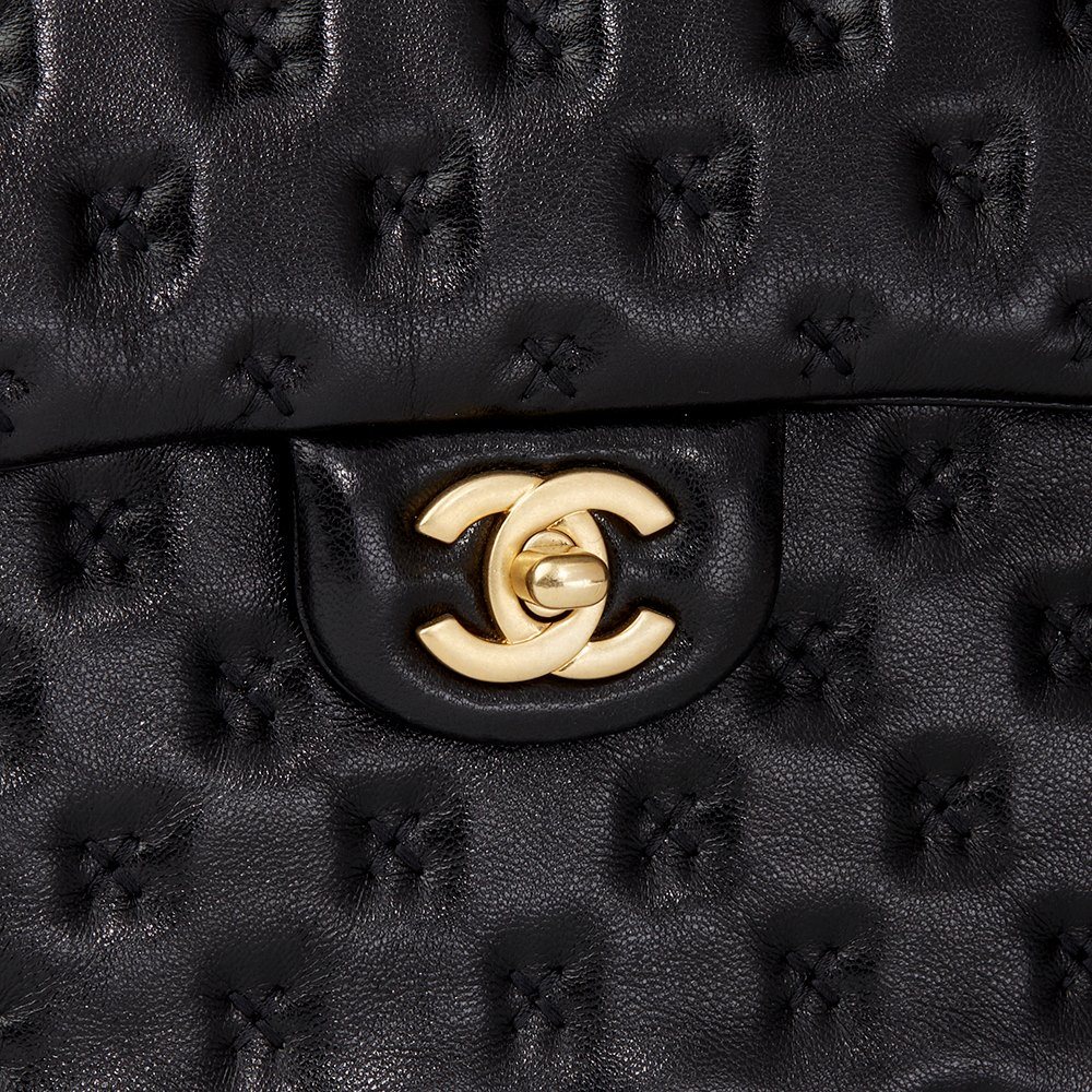 00a543b6c1 Chanel Black Cross Stitch Quilted Lambskin Coco Handle Flap Bag