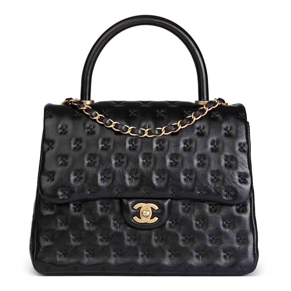 0d9fc987e763 Chanel Black Cross Stitch Quilted Lambskin Coco Handle Flap Bag