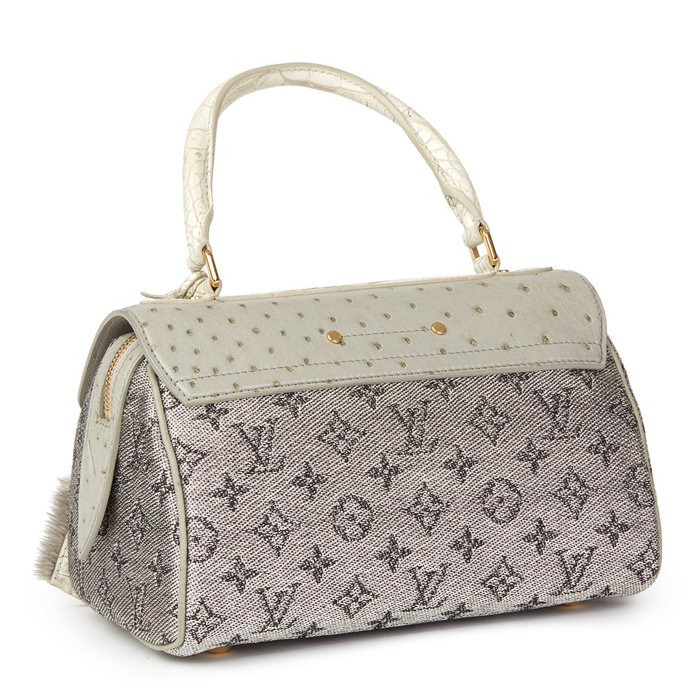 Louis Vuitton Grey Alligator Leather, Ostrich Leather & Mink, Jacquard Monogram Comedie Carrousel