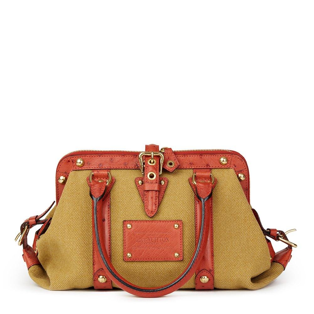 ce0f55af2e Louis Vuitton Toile Trianon Canvas & Rouille Ostrich Leather Sac de Nuit MM