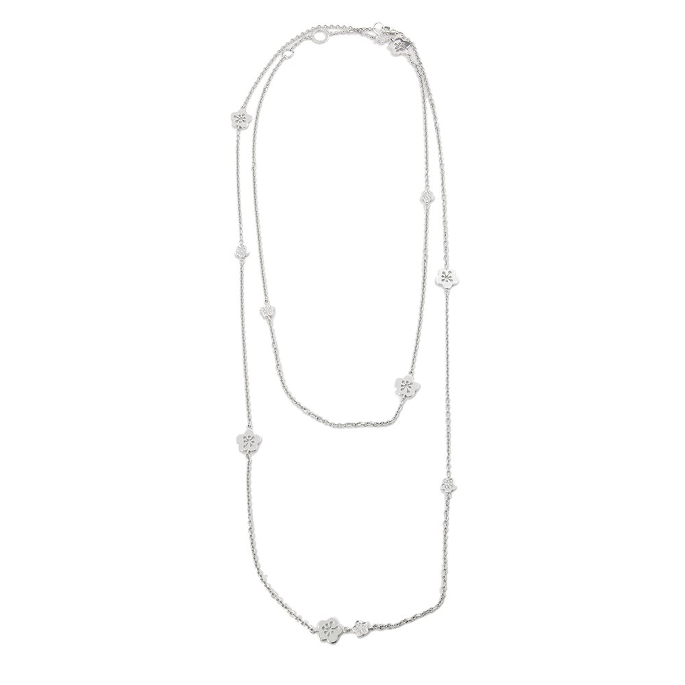 Boodles 18k White Gold Diamond Blossom Long Necklace