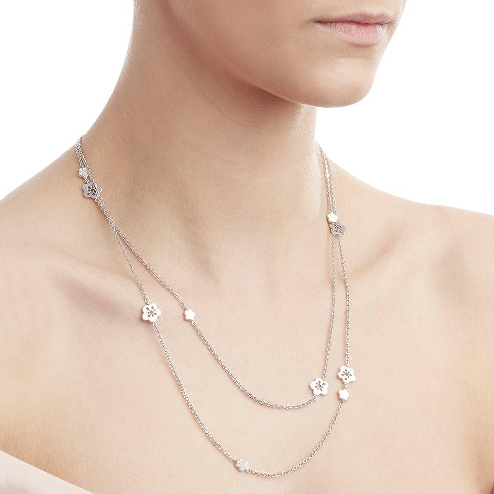 Boodles 18k White Gold Diamond Blossom Long Necklace