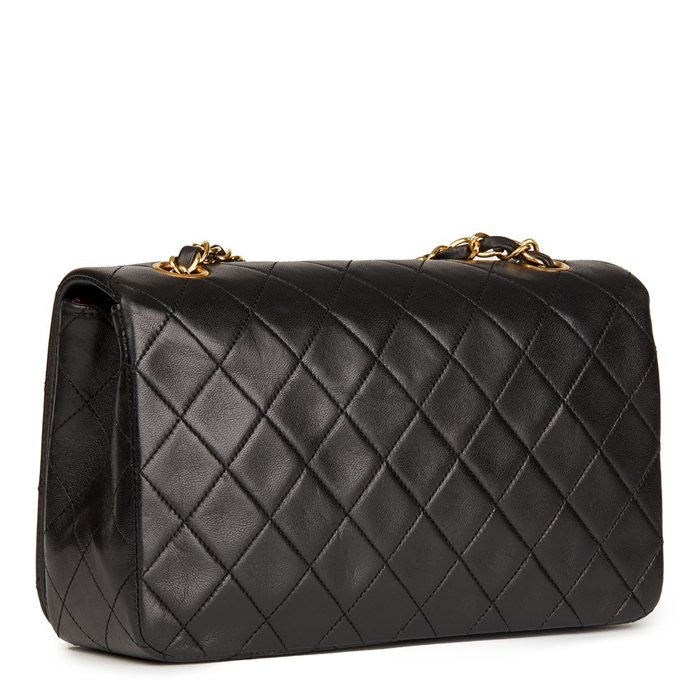 0513c713f5be Chanel Black Quilted Lambskin Vintage Small Classic Single Full Flap Bag