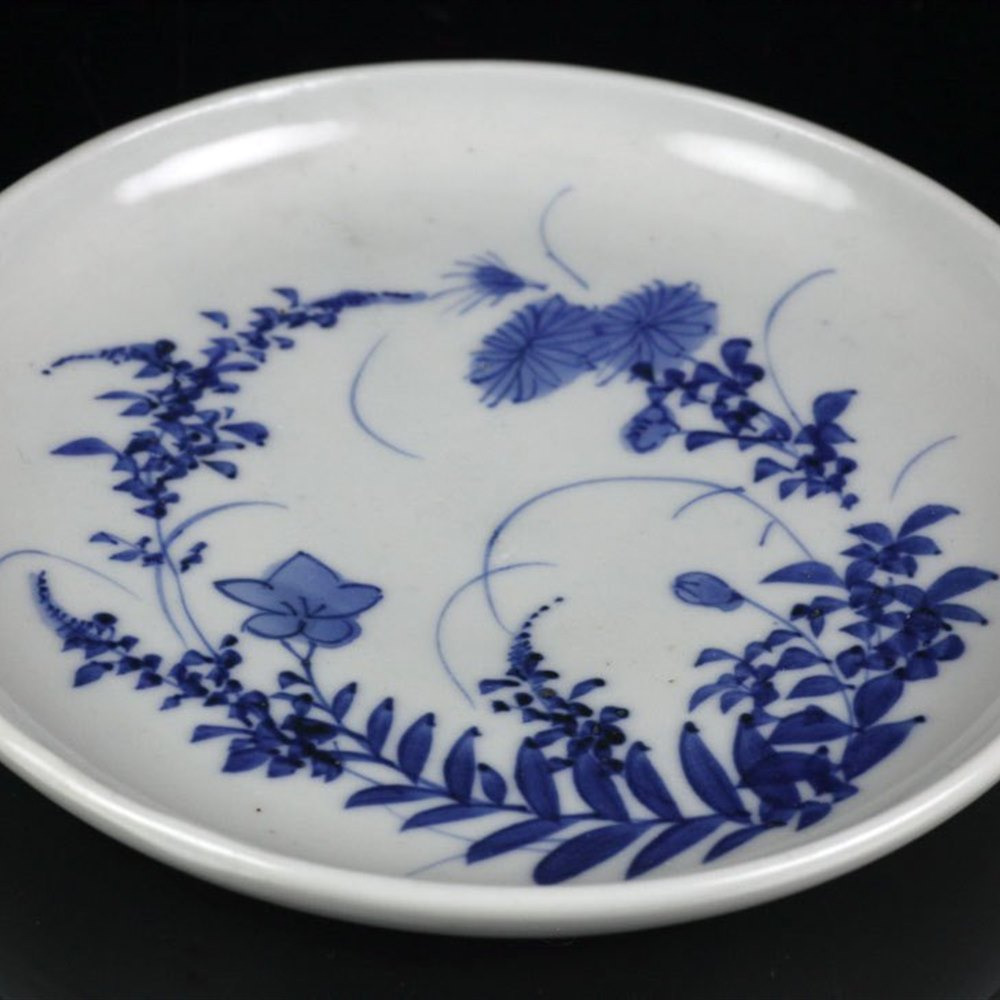ORIENTAL FLORAL PAINTED DISH Believed 19th/20th century although could be earlier