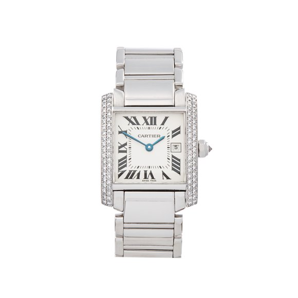 Cartier Tank Francaise Diamond 18k White Gold - 2491 or WE1018S3