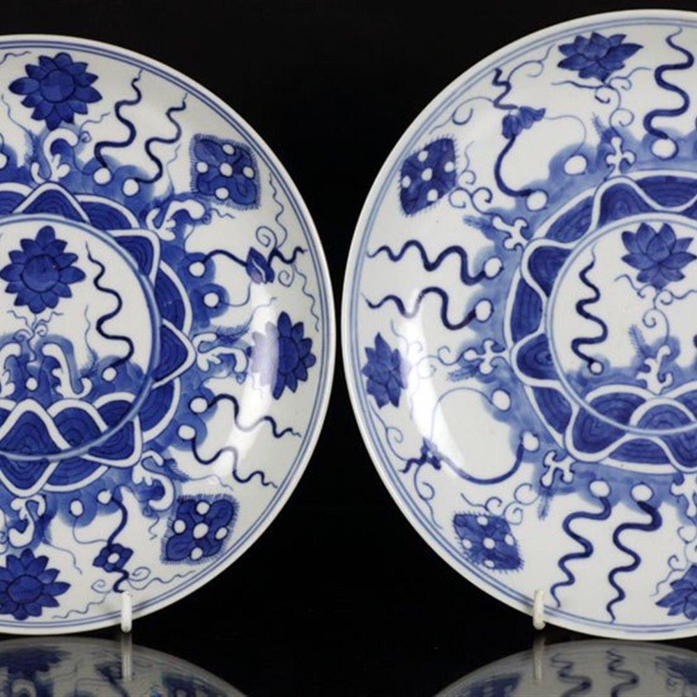 Fine Pair Antique Chinese Floral Design Plates 18th C.