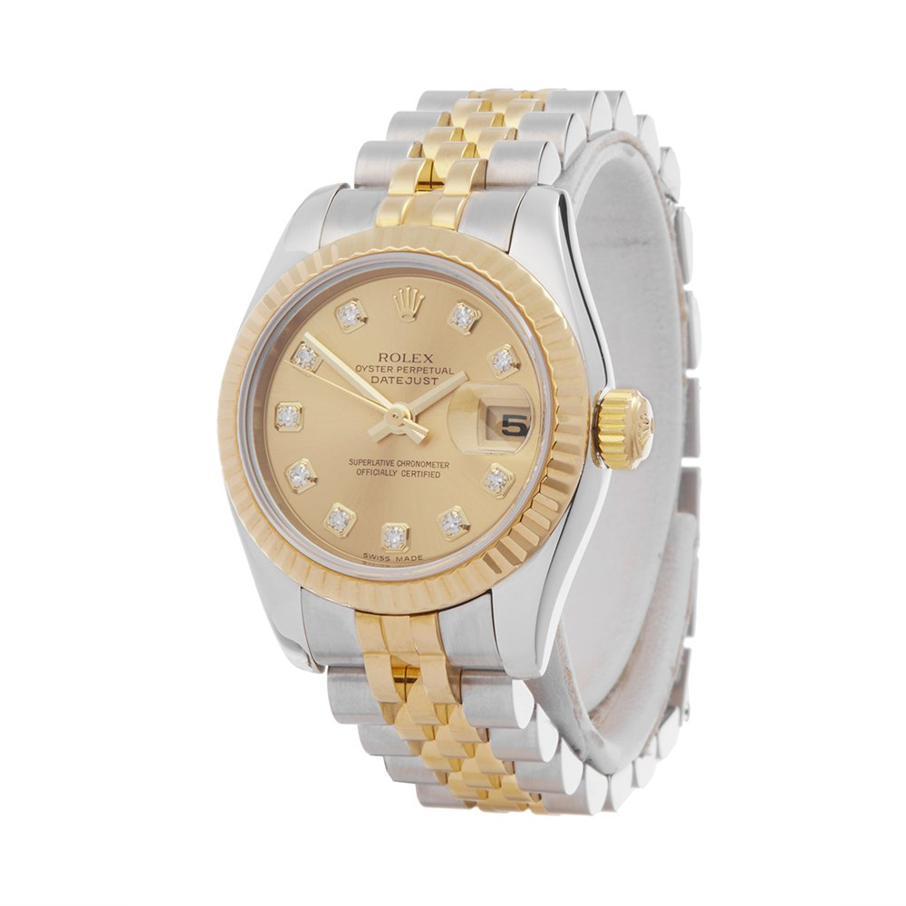 Rolex Datejust 26 Diamond Stainless Steel & Yellow Gold 179173
