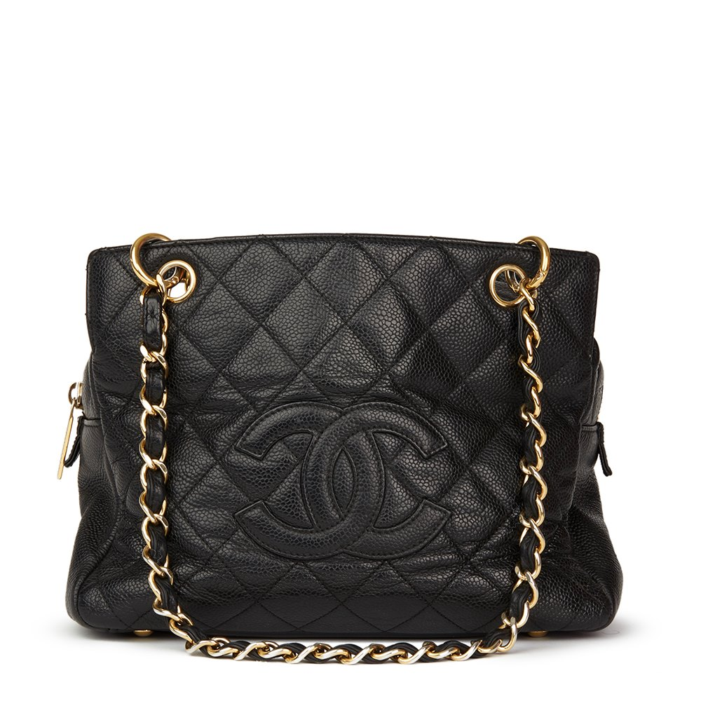 3f3d9d6bfe0d Chanel Black Quilted Caviar Leather Petite Timeless Tote PTT