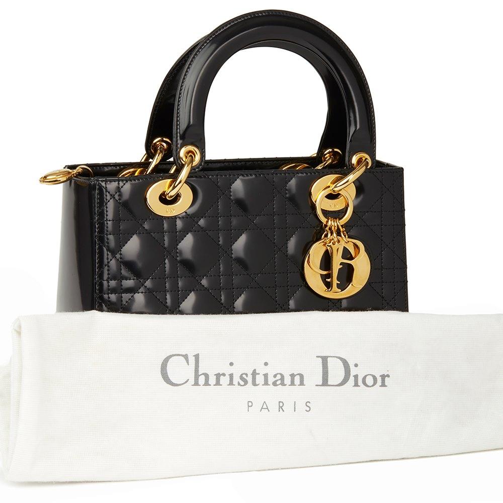 4ea718ab6c Christian Dior Black Quilted Glazed Calfskin Leather Medium Lady Dior