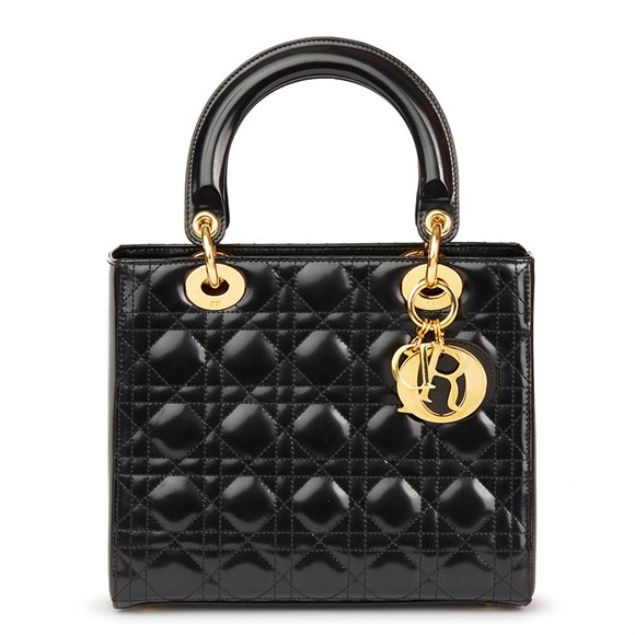 Christian Dior Black Quilted Glazed Calfskin Leather Medium Lady Dior
