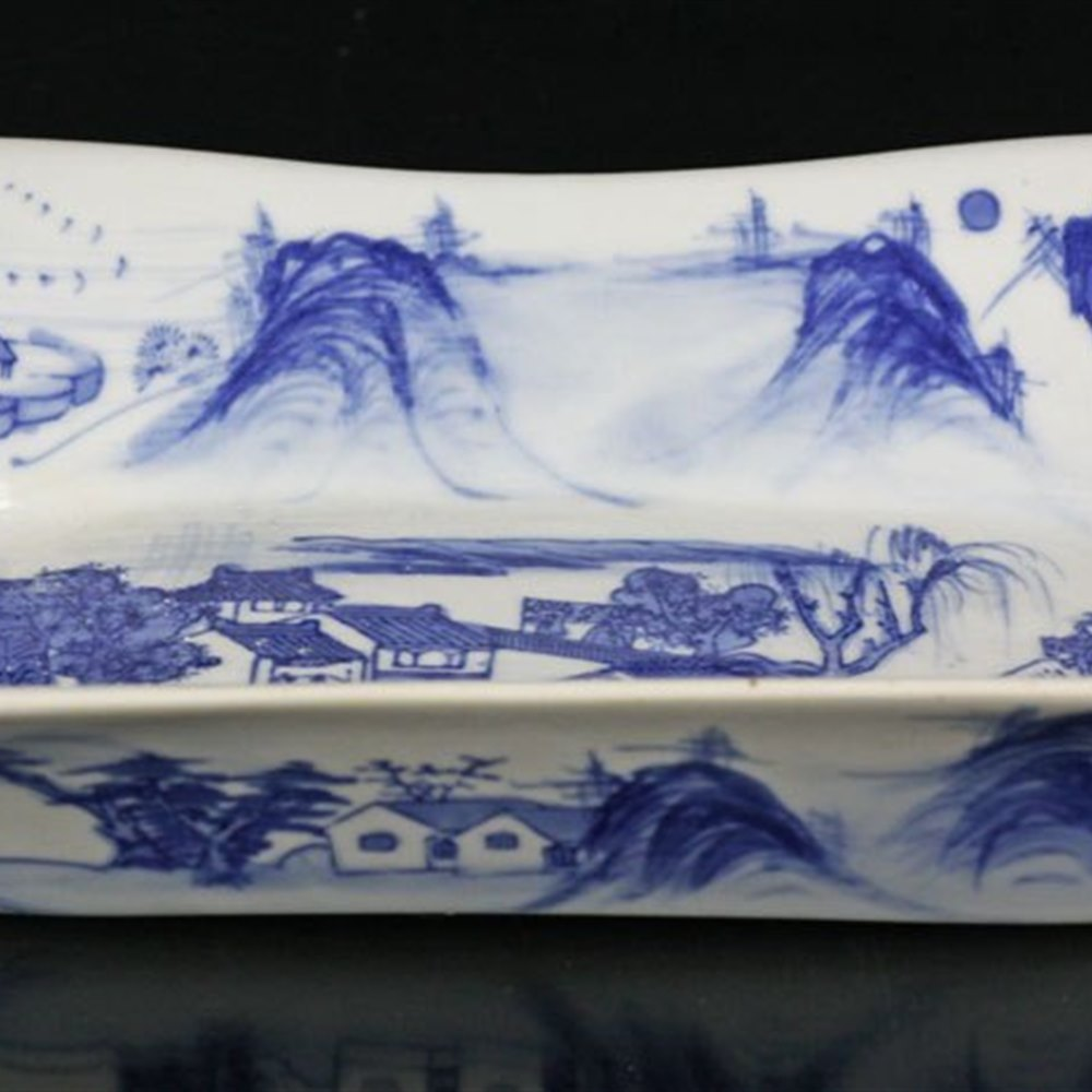 Unusual Antique Chinese Blue & White Dish Qianlong Seal Mark