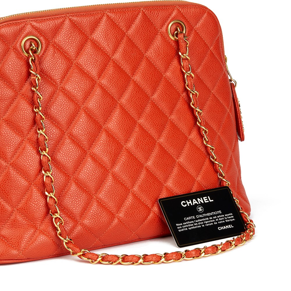 Chanel Orange Quilted Caviar Leather Vintage Timeless Shoulder Bag
