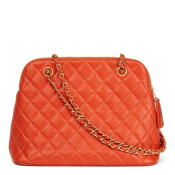 Chanel Orange Quilted Caviar Leather Vintage Timeless Shoulder Bag