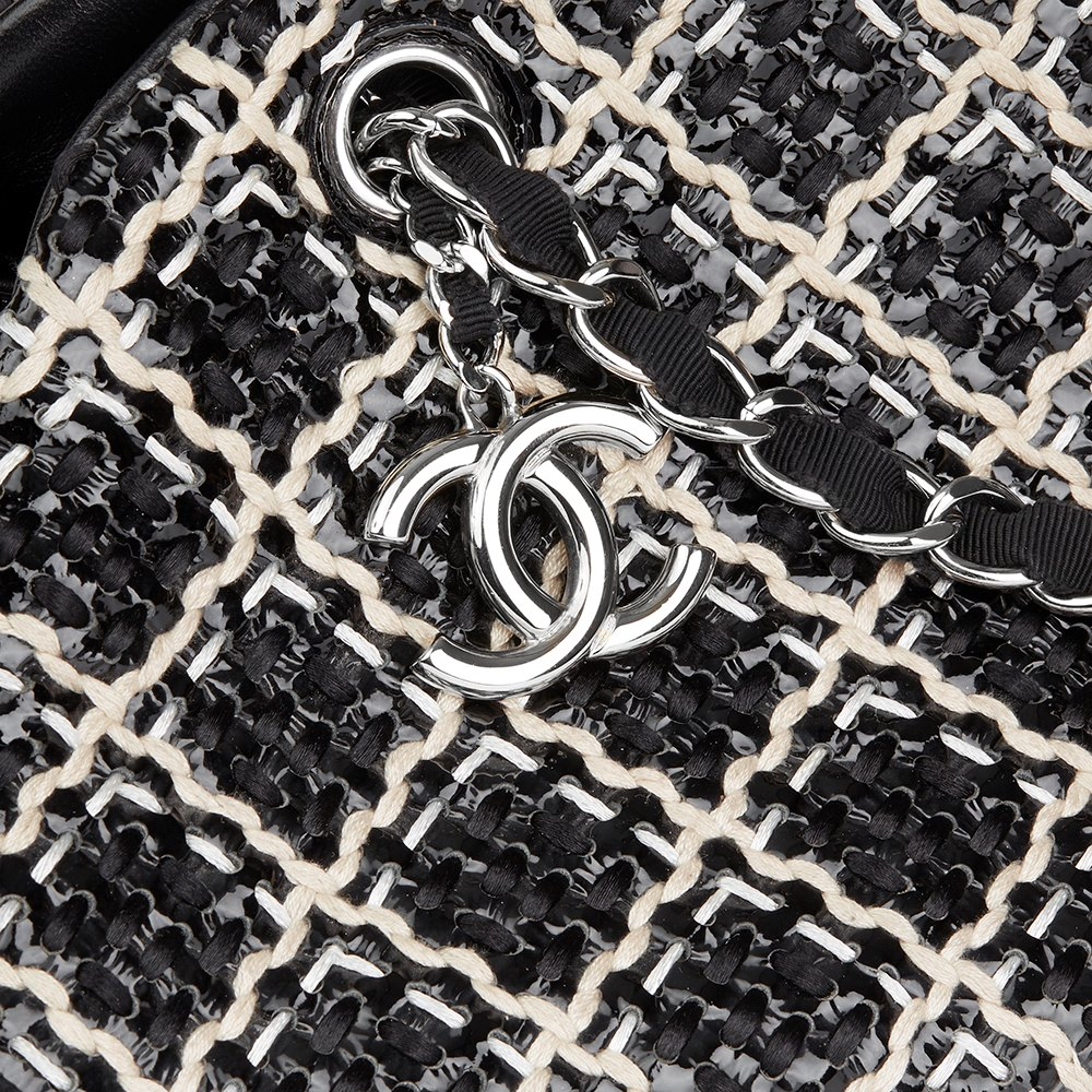 Chanel Black Woven Patent Leather Stitch Just Mademoiselle Bowling Bag