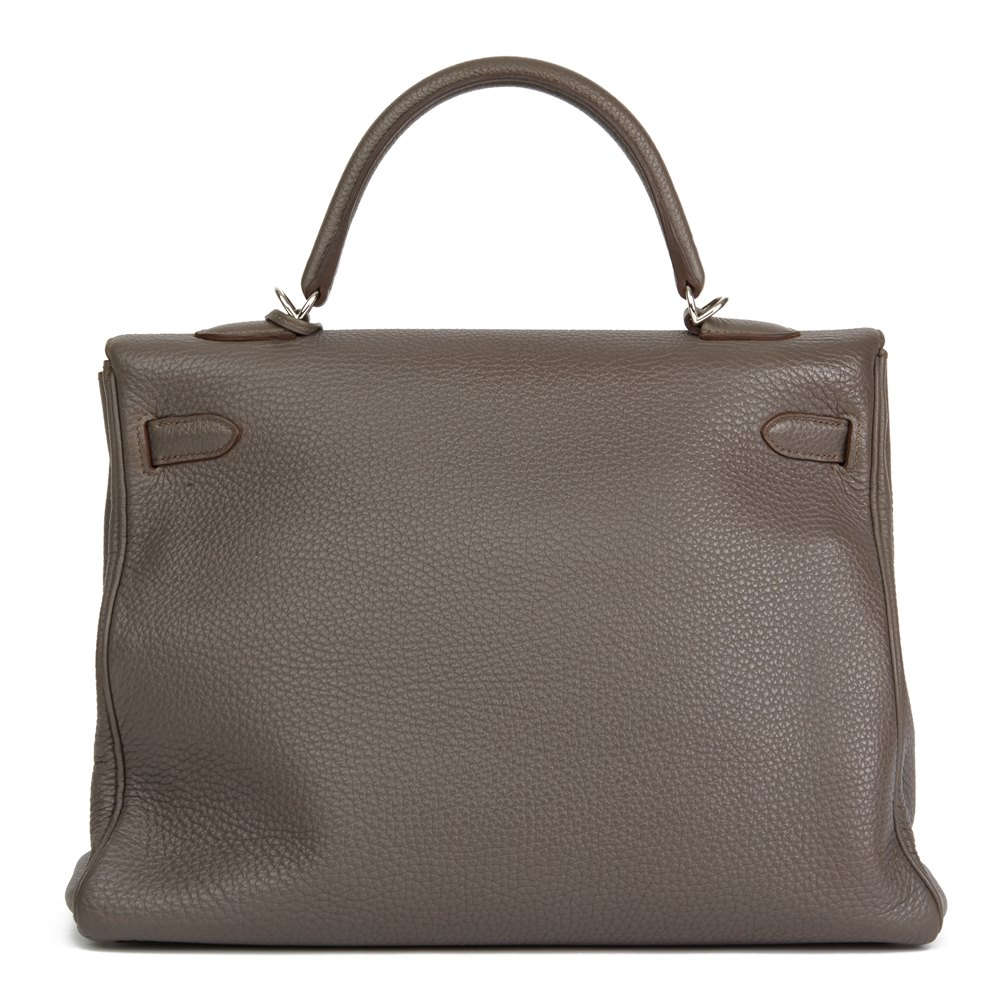 Hermès Etain Togo Leather Kelly 35cm Retourne
